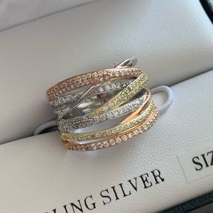 Sterling silver tri color ring